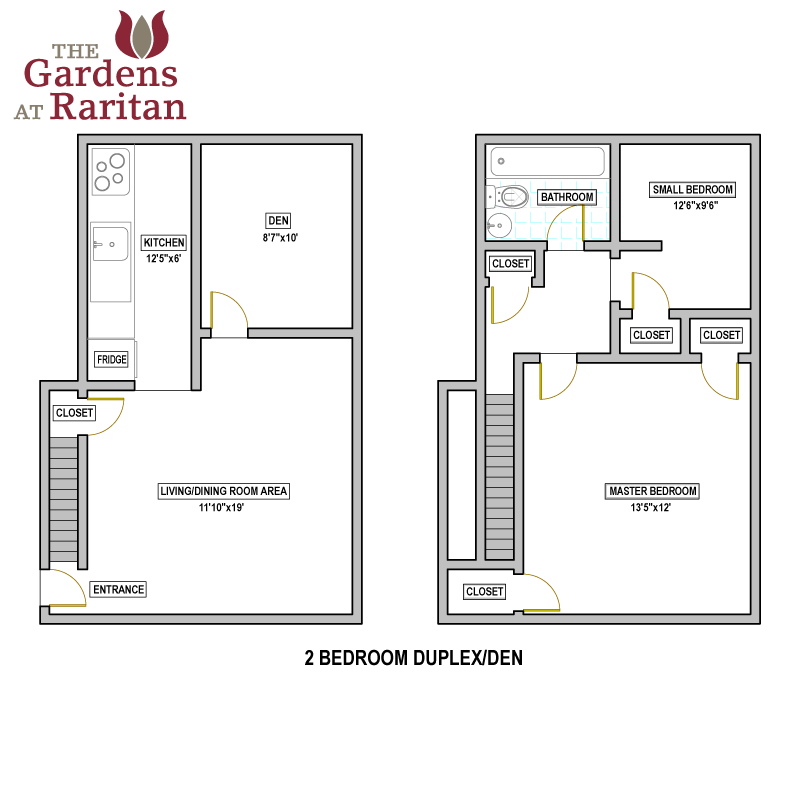 The gardens at raritan availability floorplans the for Double bedroom independent house plans
