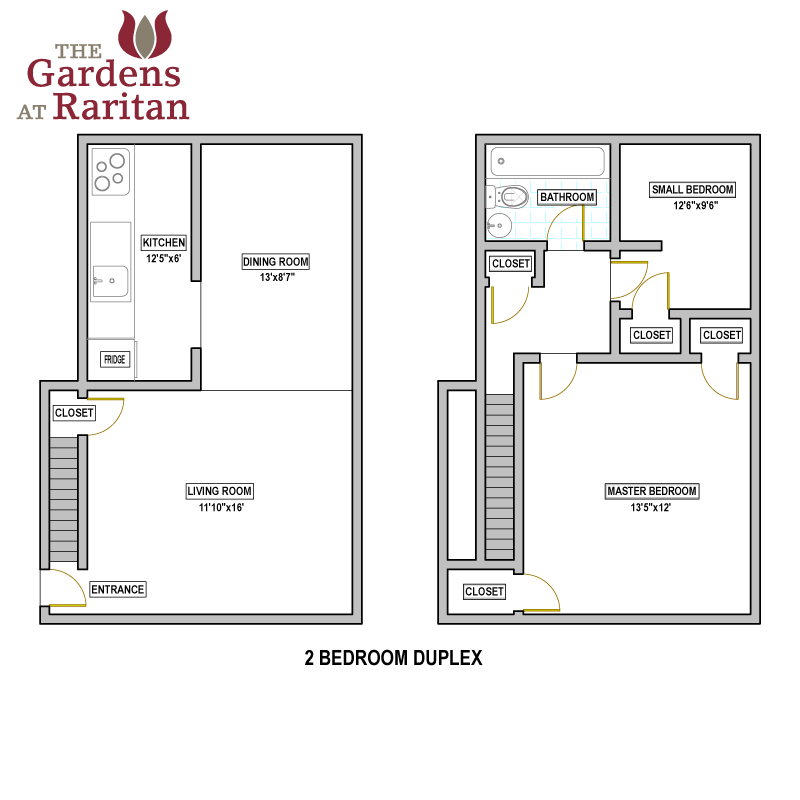Availability floorplans the gardens at raritan for Duplex bed